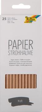 Folia papieren rietjes, ophangbaar doosje van 25 stuks, kraft