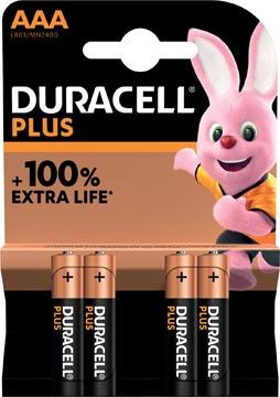 Duracell batterij Plus 100% AAA, blister van 4 stuks
