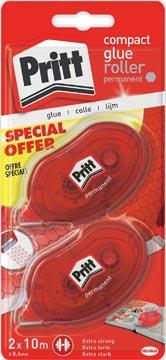 Pritt lijmroller Compact permanent, blister met 2 stuks, 2de aan halve prijs