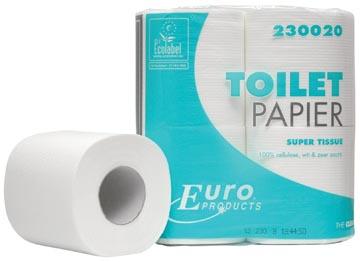 Europroducts toiletpapier, 2-laags, 200 vellen, pak van 4 rollen
