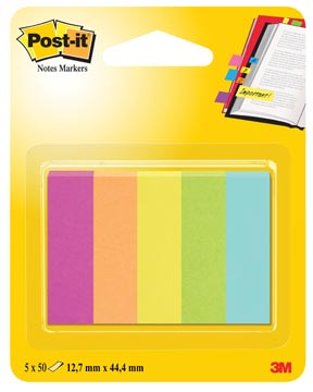 Post-it Notes Markers Capetown, ft 12,7 x 44,4 mm, blister met 5 blokjes van 50 vel
