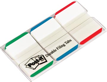 Post-it Index Strong, ft 25,4 x 38 mm, wit met gekleurde rand, 3 kleuren, 22 tabs per kleur