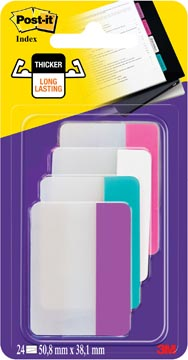 Post-it Index Strong, ft 38 x 50,8 mm, geassorteerde kleuren, 6 tabs per kleur