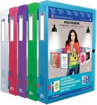 OXFORD Polyvision personaliseerbare elastobox, formaat A4, uit PP, rug van 4 cm, geassorteerde kleuren
