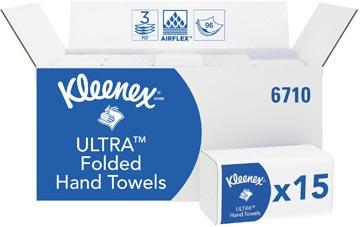 Kleenex papieren vouwhandoeken, Ultra Super Soft, 3-laags, 96 vellen, pak van 15 stuks