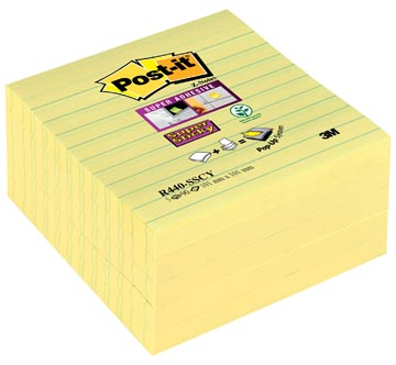 Post-it Super Sticky Z Notes, geel, ft 101 x 101 mm, gelijnd, 90 blaadjes