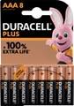 Duracell batterij Plus 100% AAA, blister van 8 stuks