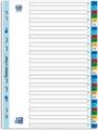 OXFORD tabbladen, formaat A4, uit PP, 11-gaatsperforatie, gekleurde tabs, set 1-31